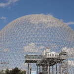 Biosphere in Montreal, Canada. Blue sky with a couple white clouds