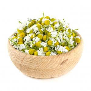 chamomile flowers in a bowl
