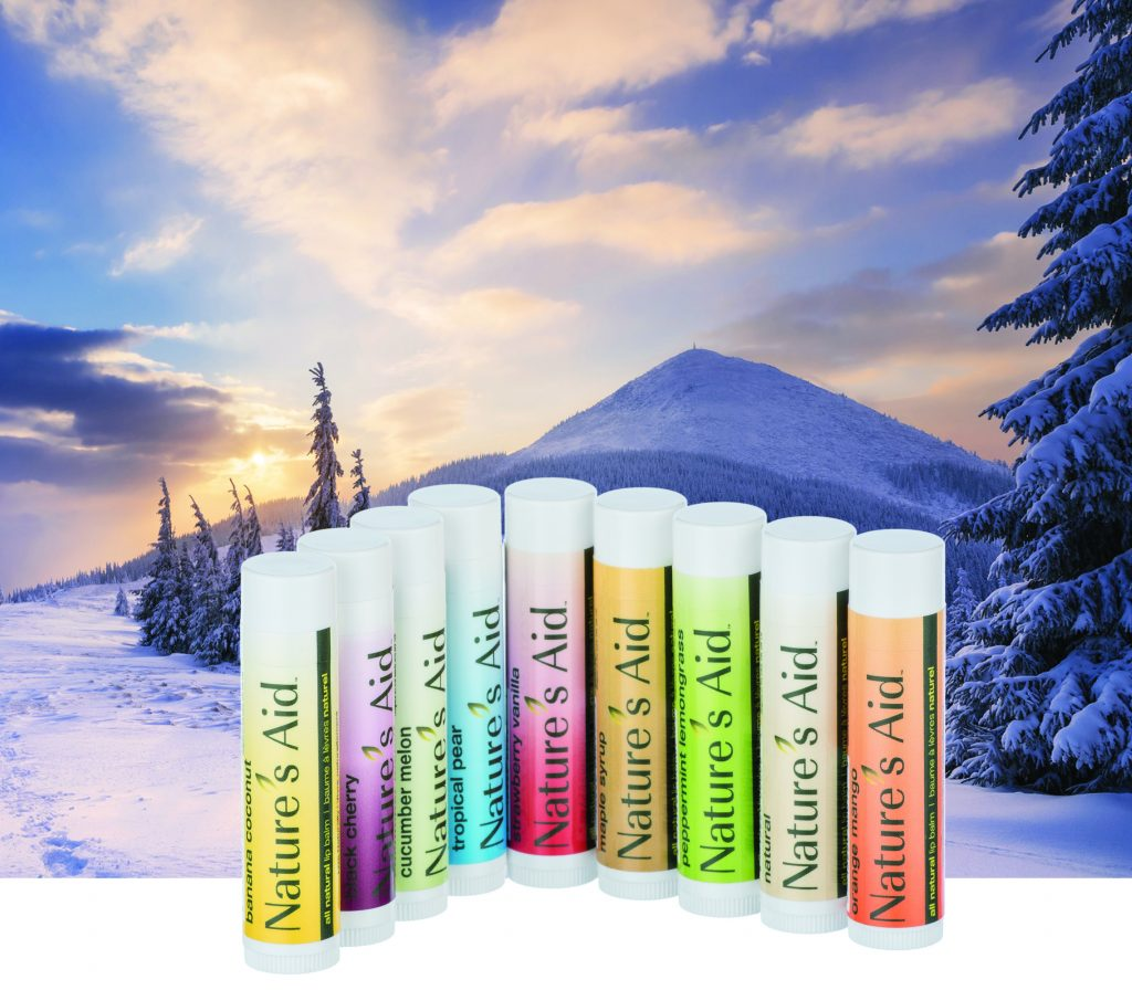 True Natural Lip Balm Line up with snowy background