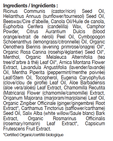 muscle balm ingredient list