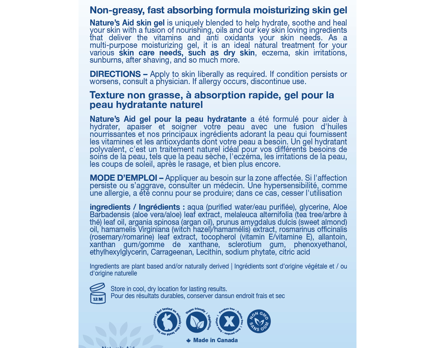 Moisturizing Skin Gel Back of Label
